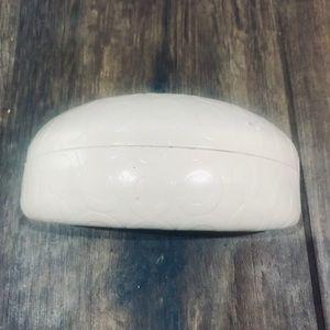 "Coach glasses case in cream with ""C""  logo imprint"